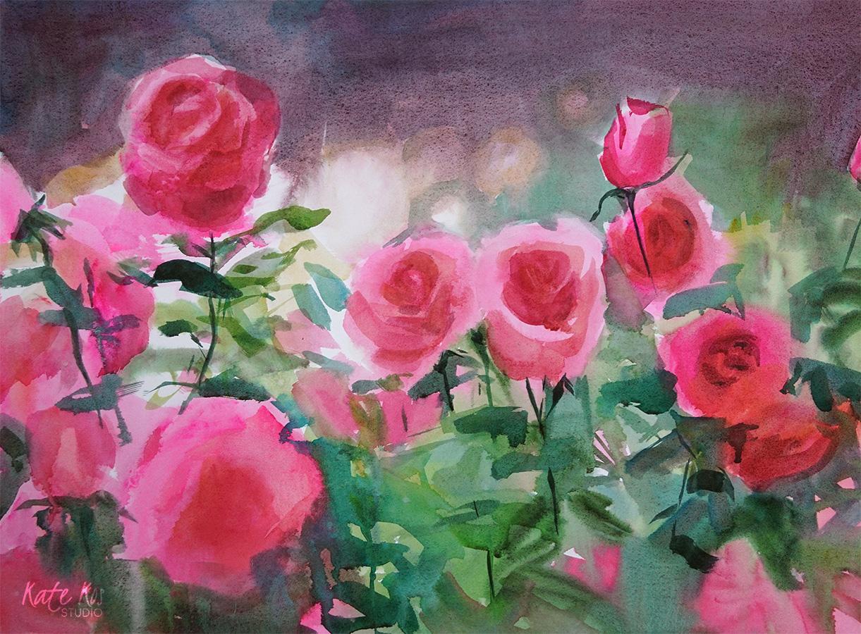 Gaura watercolor