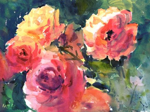 Sunlit roses