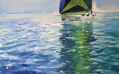 Sea, waves, boat and painting