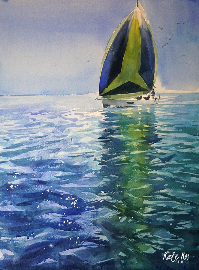 Green Spinnaker - watercolor