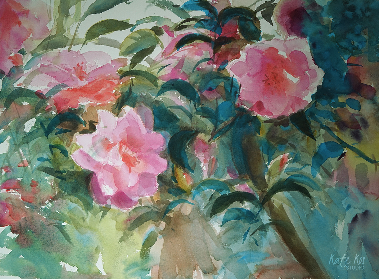 Camellia - watercolor painting