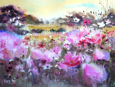 2017 art painting watercolor flowers meadow by Kate Kos - Meadow Glory