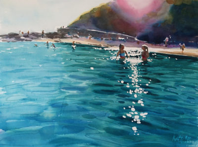 2017 art painting watercolor beach ballymoney by Kate Kos - Forever Young
