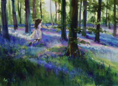 2017 art painting watercolor landscape bluebell wood by Kate Kos - Dreamland