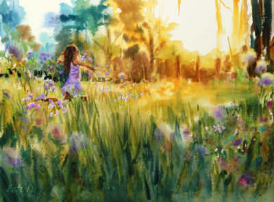 2017 art painting watercolor landscape woodland girl by Kate Kos - Lost in Lilac