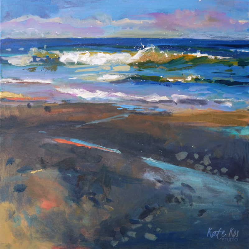 2018 art painting acrylic seascape Irish beach by Kate Kos - Golden Waves