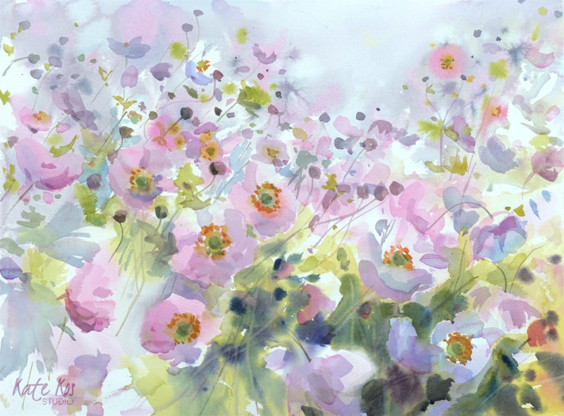 2018 art painting watercolor floral anemones by Kate Kos - Confetti