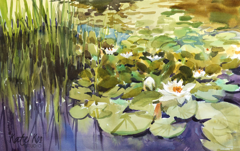 2018 art painting watercolor floral landscape by Kate Kos - Water Lilies