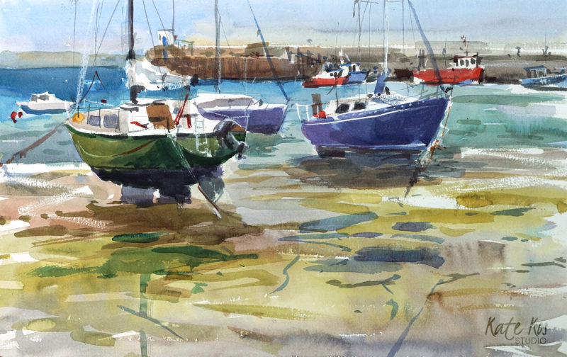 2018 art painting watercolor seascape Skerries by Kate Kos - Bare Bottoms