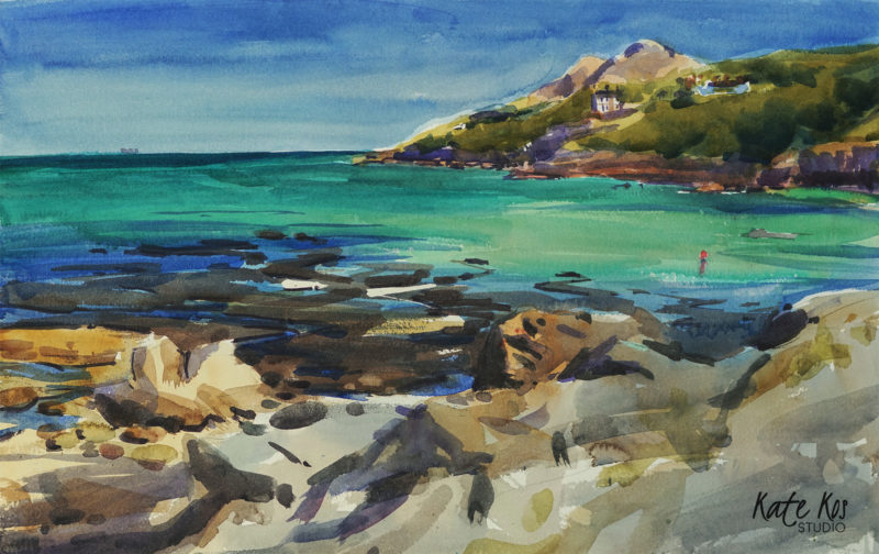 2018 art painting watercolor seascape plein air by Kate Kos - The Lonely Buoy