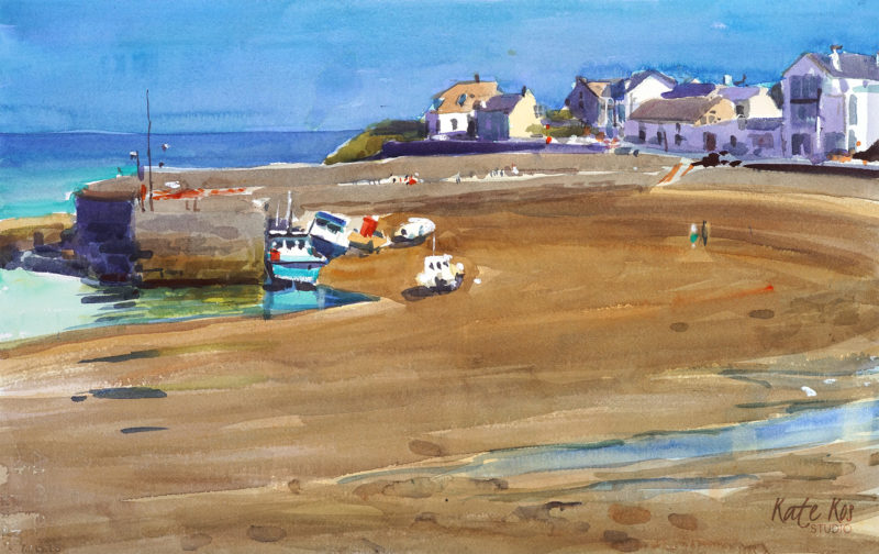 2018 art painting watercolor seascape plein air by Kate Kos - Rush Harbour