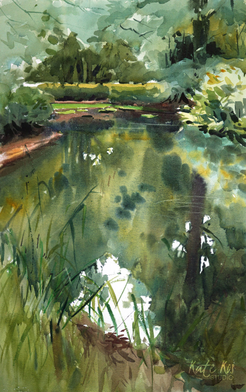 2018 art painting watercolor landscape lake by Kate Kos - Silence is Green
