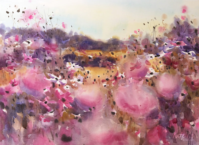 2018 art painting watercolor floral landscape cosmos by Kate Kos - Meadow Glory II
