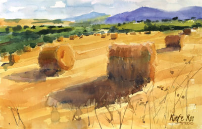 2019 art painting watercolor landscape bales of hay by Kate Kos - Purple & Gold II