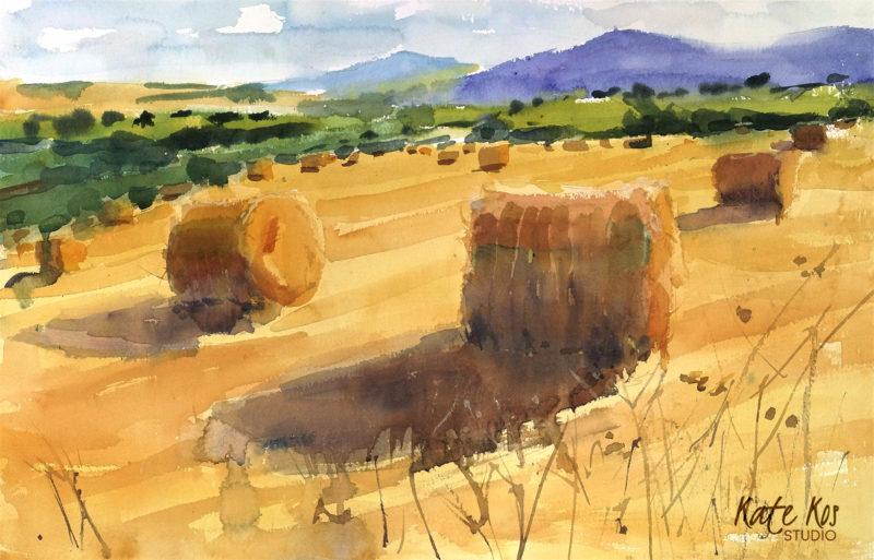 2019 art painting watercolor landscape bales of hay by Kate Kos - Purple & Gold II