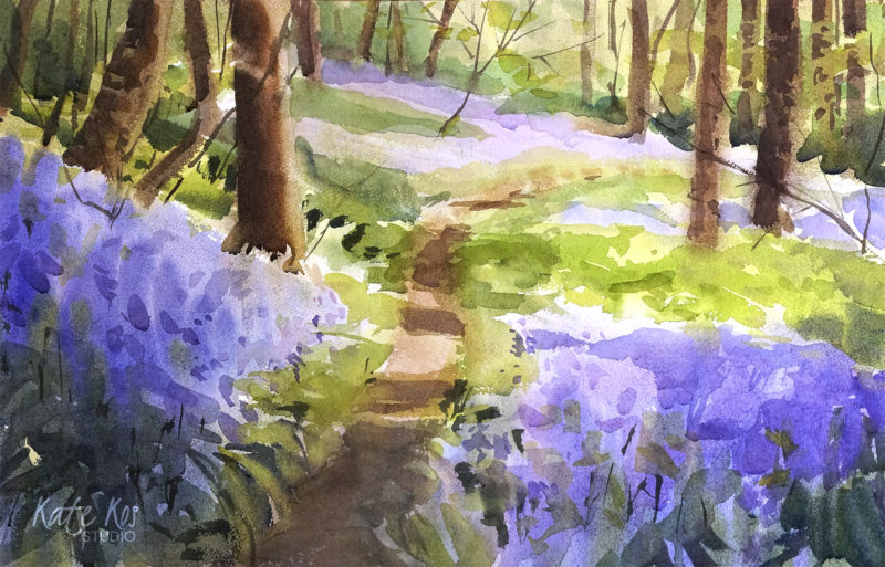 2019 art painting watercolor landscape bluebells by Kate Kos - Blue Carpet