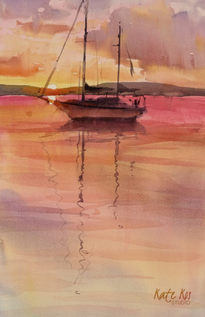 2019 art painting watercolor seascape boat by Kate Kos - Rainbow Dusk