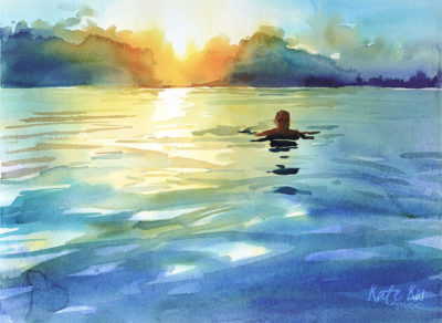 2019 art painting watercolor seascape kid jump by Kate Kos - Dash & Splash IX