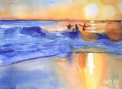 2019 art painting watercolor seascape kid jump by Kate Kos - Dash & Splash X
