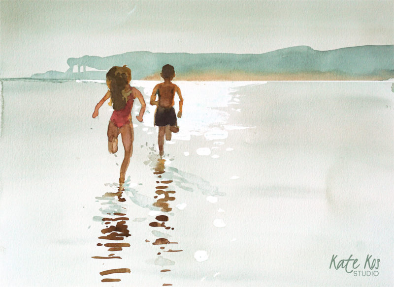 2019 art painting watercolor seascape kid jump by Kate Kos - Dash & Splash XI