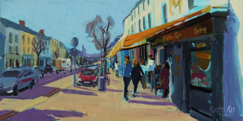 2019 art painting acrylic landscape Gorey town by Kate Kos - Main Street II
