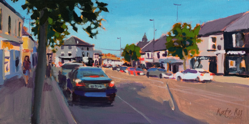 2019 art painting acrylic landscape Gorey town by Kate Kos - Main Street IV