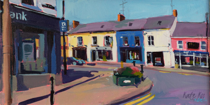 2019 art painting acrylic townscape Gorey by Kate Kos - Around The Corner