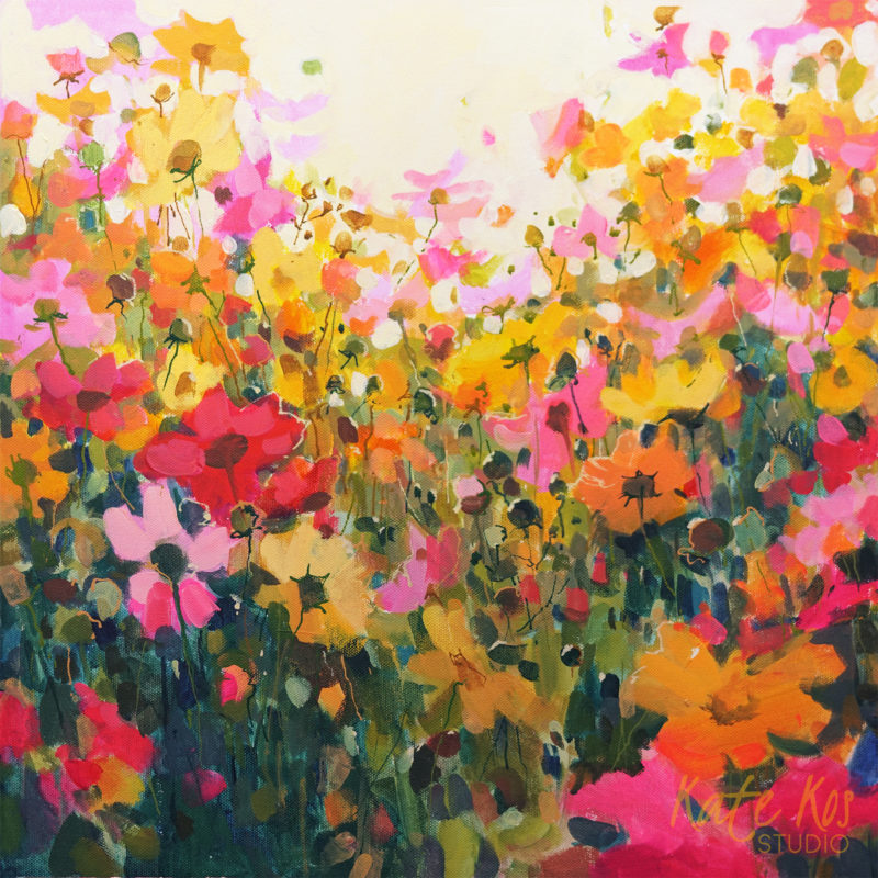 2019 art painting acrylic floral meadow cosmos by Kate Kos - Unencumbered