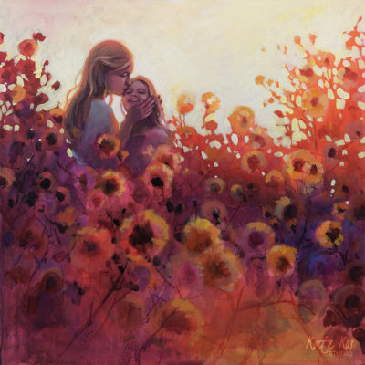 Painting of mother and daughter amongst flowers