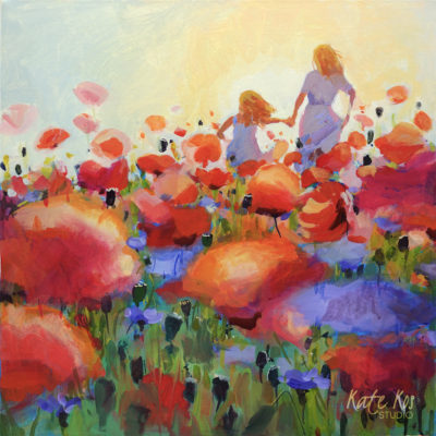2019 art painting acrylic floral mother and daughter by Kate Kos - Popping Out