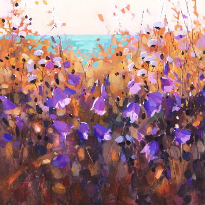 2019 art painting acrylic landscape meadow by Kate Kos - Harebells