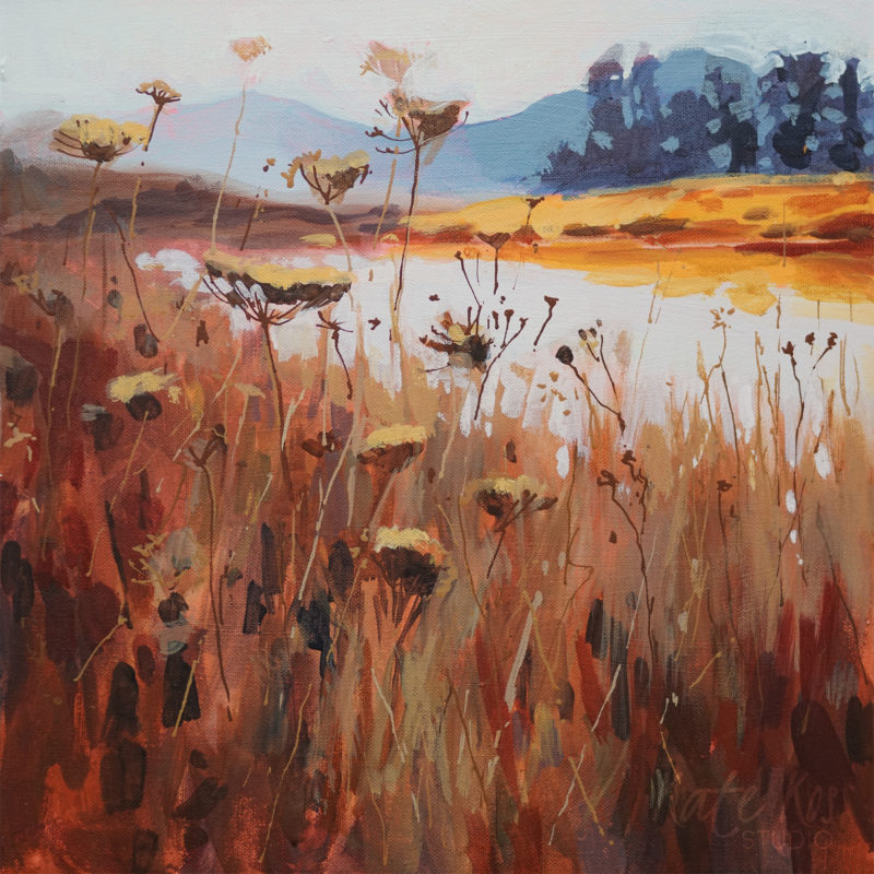 2019 art painting acrylic landscape meadow by Kate Kos - Lakeside
