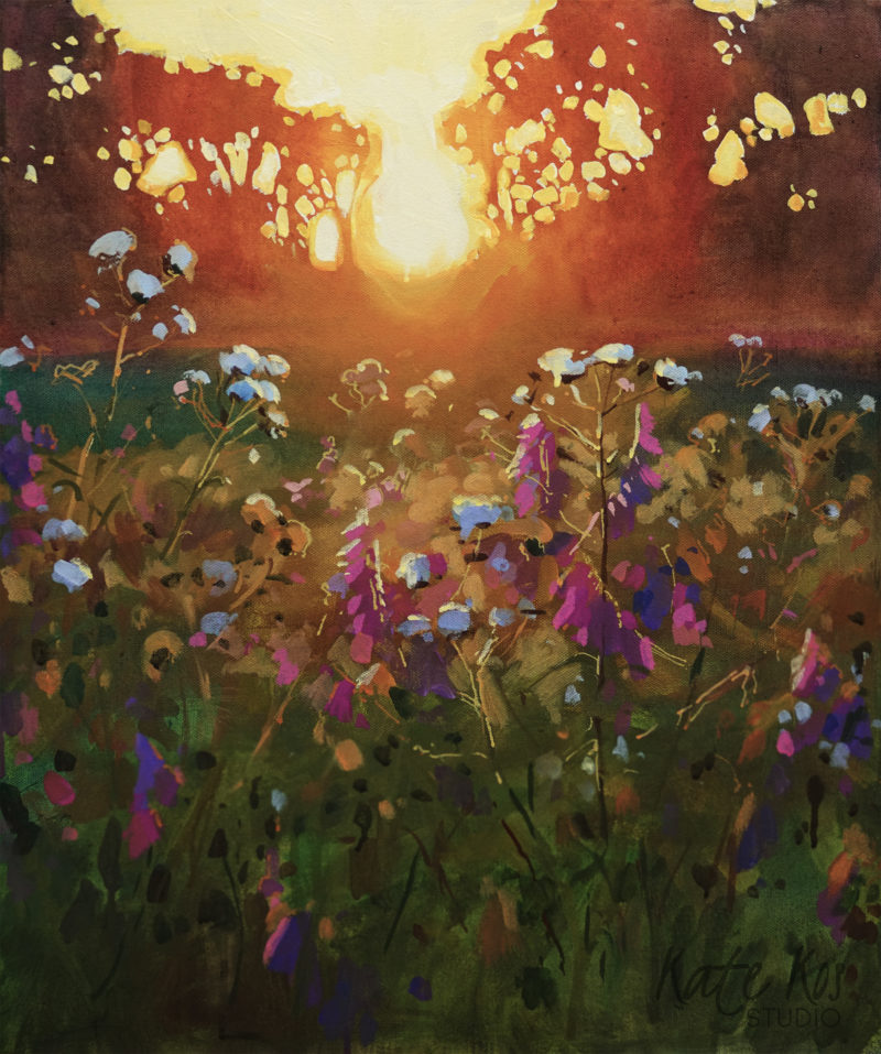 2019 art painting acrylic landscape meadow by Kate Kos - Moment in Silence
