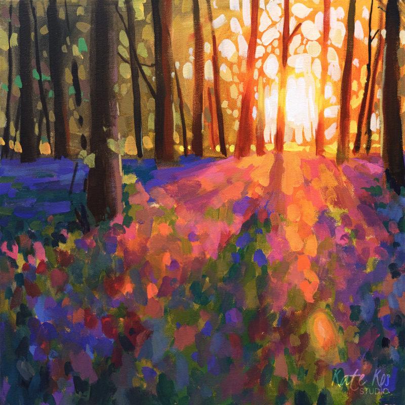 2019 art painting acrylic landscape woodland by Kate Kos - Glow