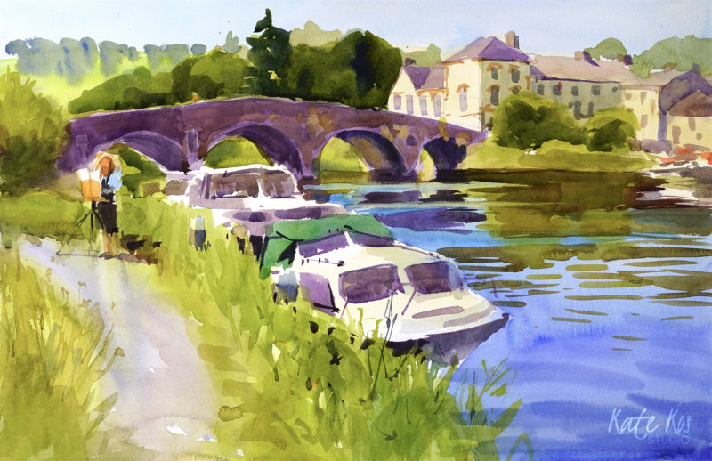 2019 art painting watercolor landscape plein air by Kate Kos - Graiguenamanagh Bridge