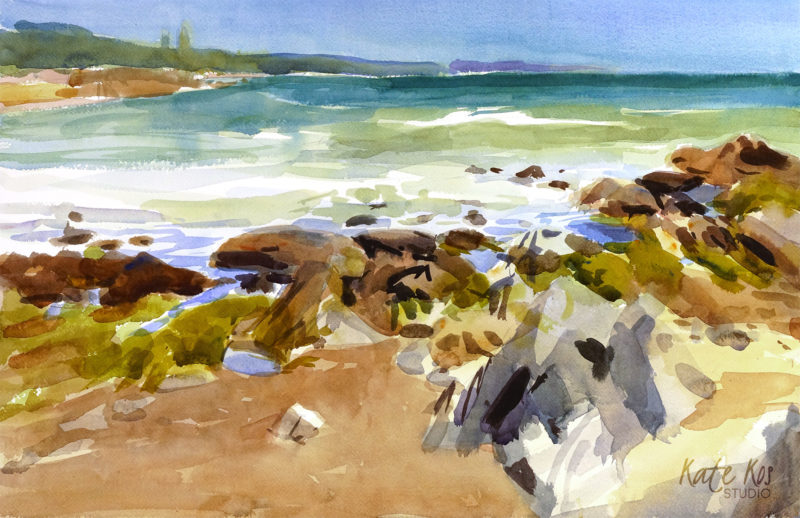2019 art painting watercolor plein air Ballymoney by Kate Kos - Ballymoney Rocks