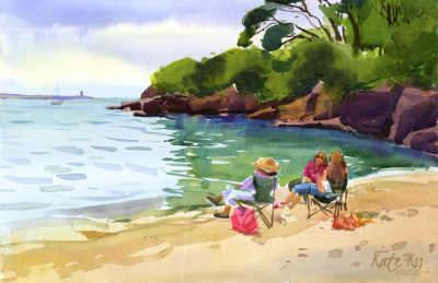 2019 art painting watercolor plein air Dunmore East by Kate Kos - Beach Chat