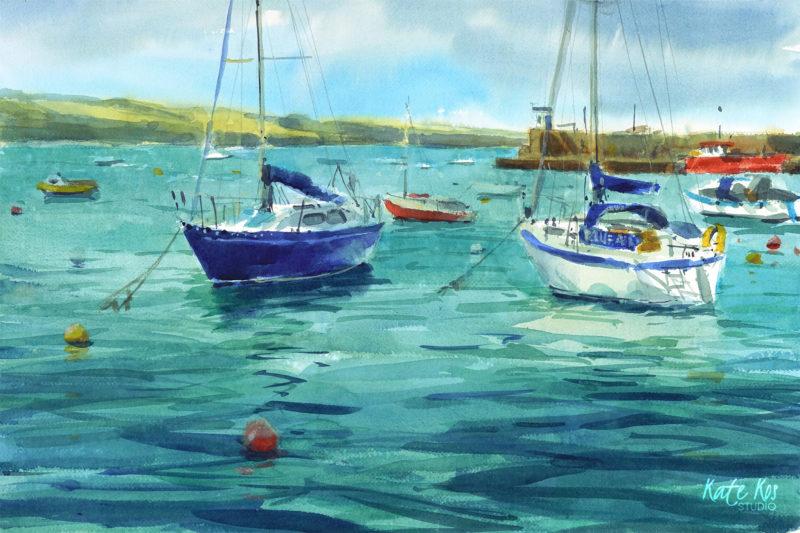 2019 art painting watercolor plein air by Kate Kos -Skerries Boats