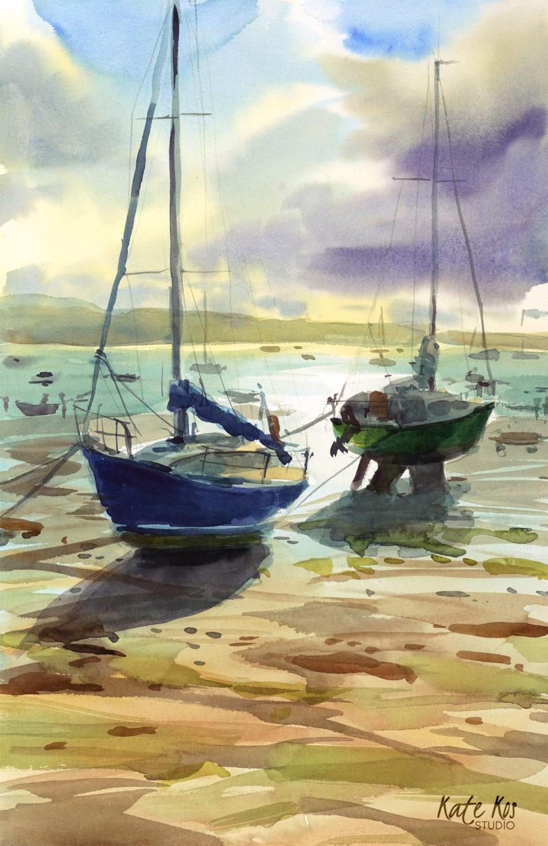 2019 art painting watercolor plein air by Kate Kos -Skerries Evening
