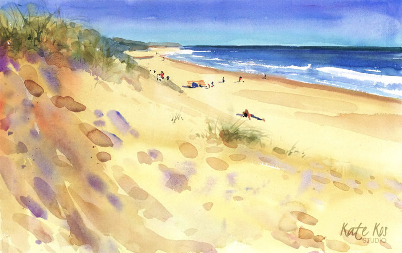 2019 art painting watercolor seascape by Kate Kos - Morriscastle