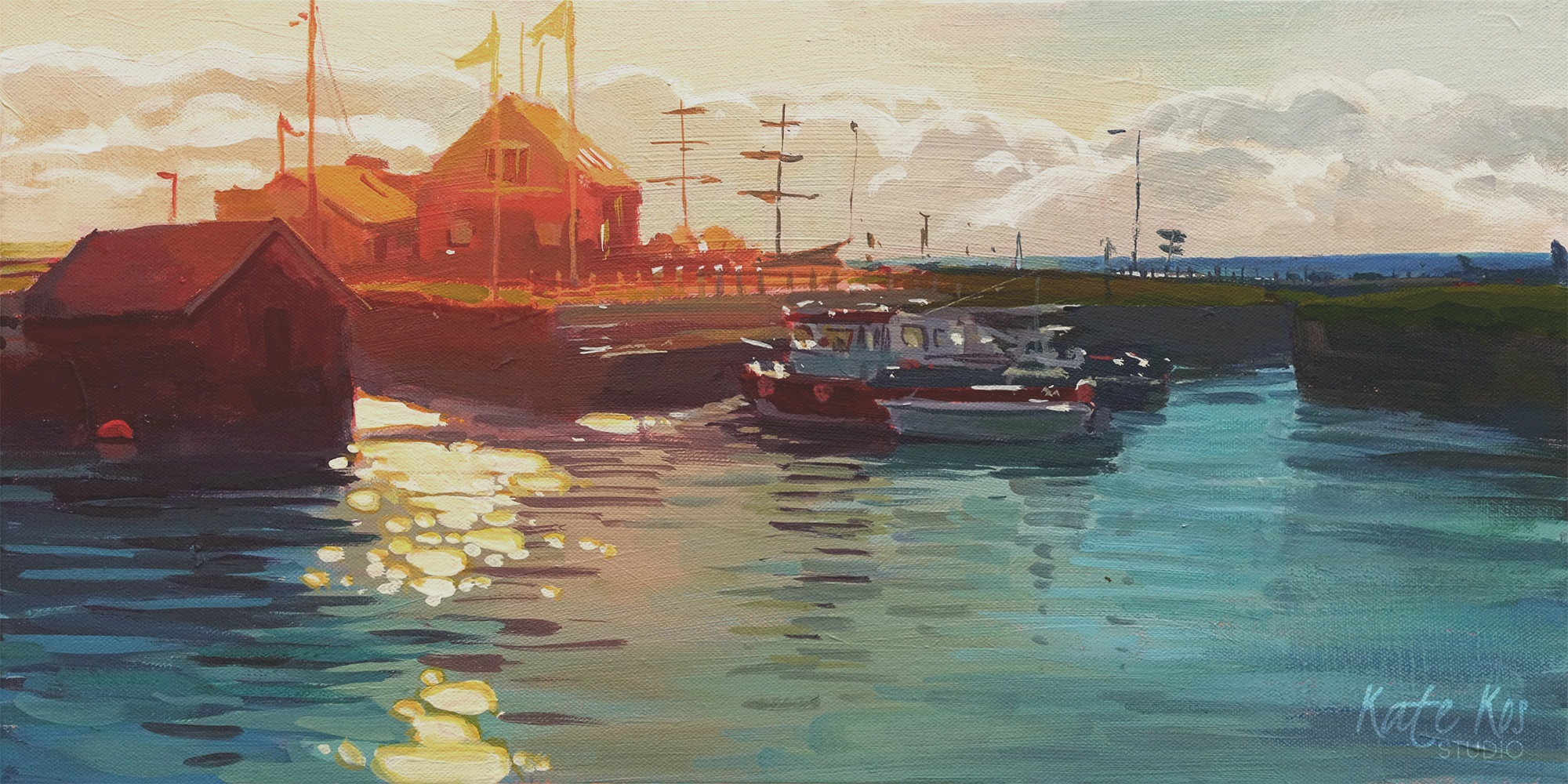 2019 art painting acrylic seascape harbour by Kate Kos - Courtown Harbour