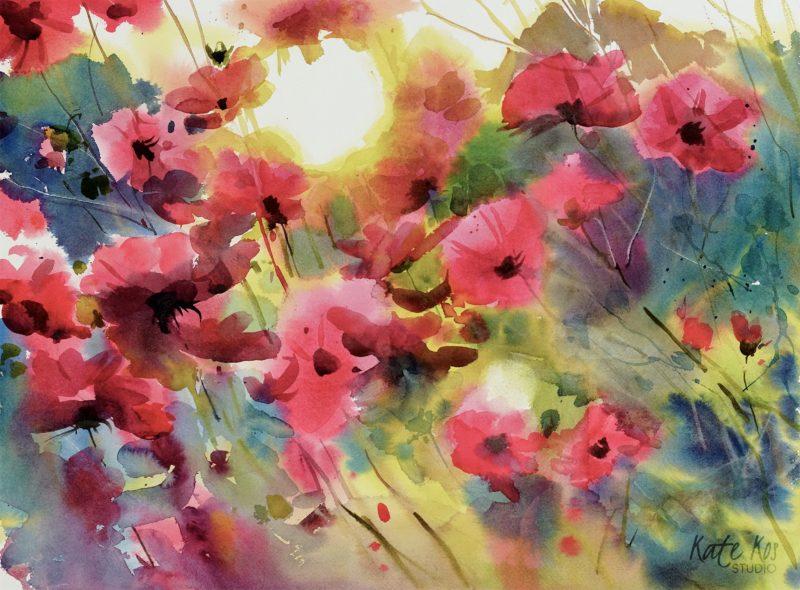 2018 art painting watercolor floral by Kate Kos - Sunbathing