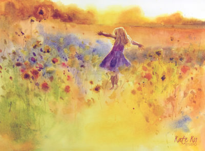 2018 art painting watercolor landscape dancing girl by Kate Kos - Summer