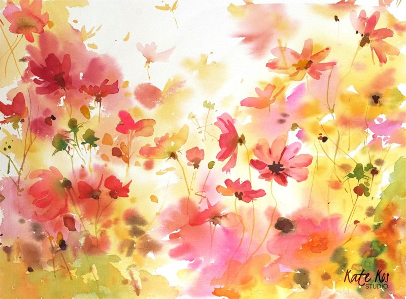 2019 art painting watercolor floral by Kate Kos - Summer Glow