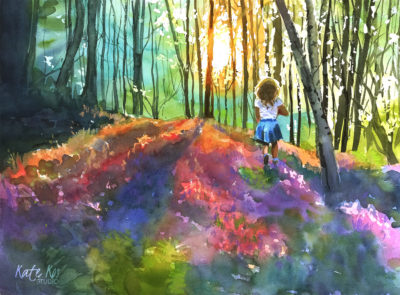 art painting watercolor landscape bluebells girl by Kate Kos - Magic Carpet
