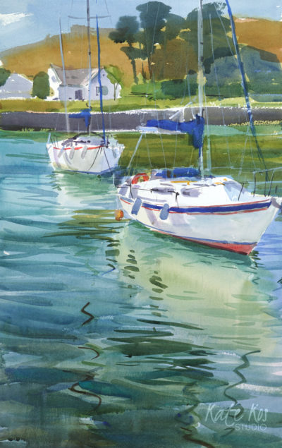2019 art painting watercolor seascape Courtown by Kate Kos - Emerald Waters