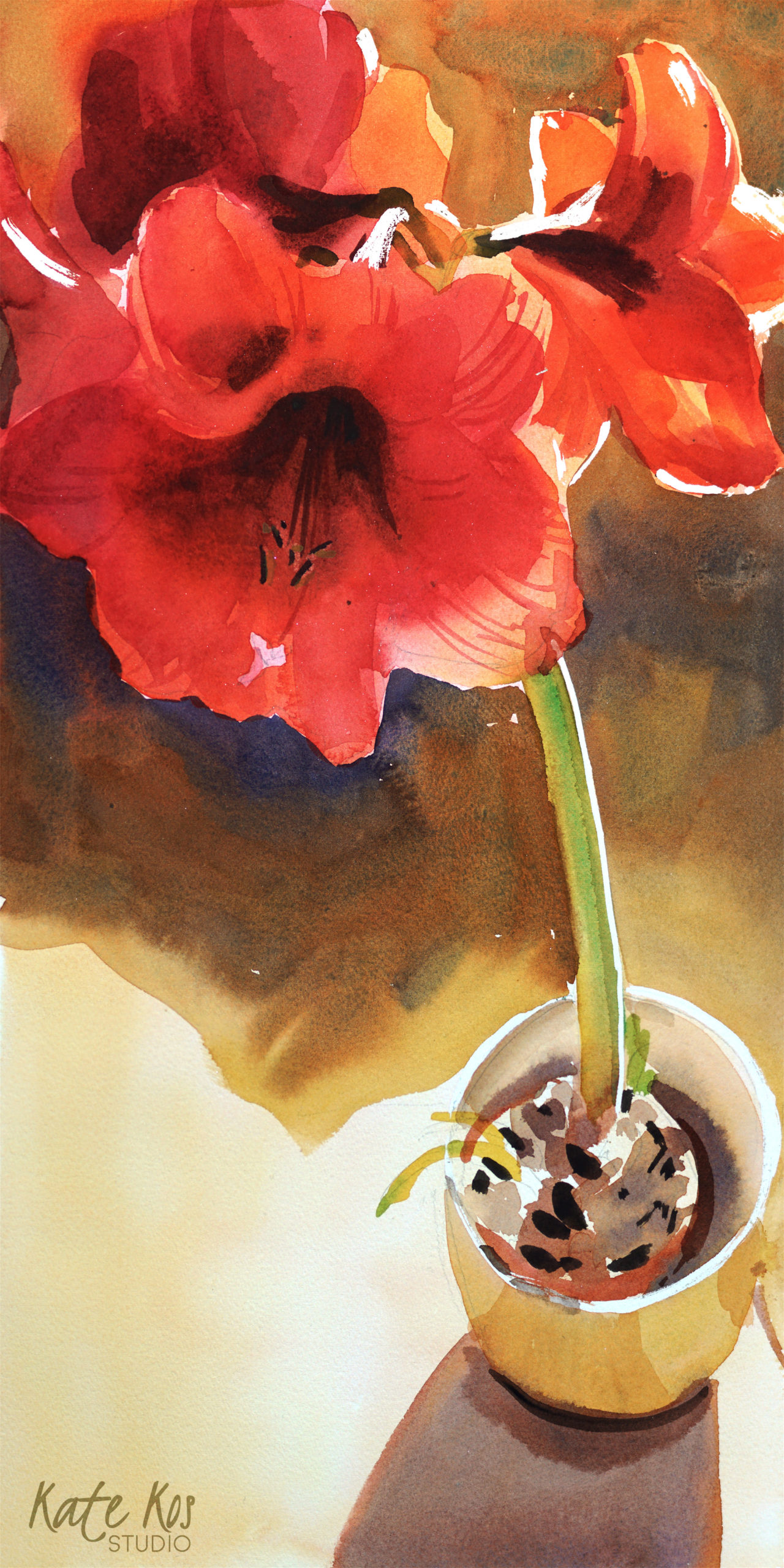 2020 art painting watercolor floral Amarylis by Kate Kos - Popping Out