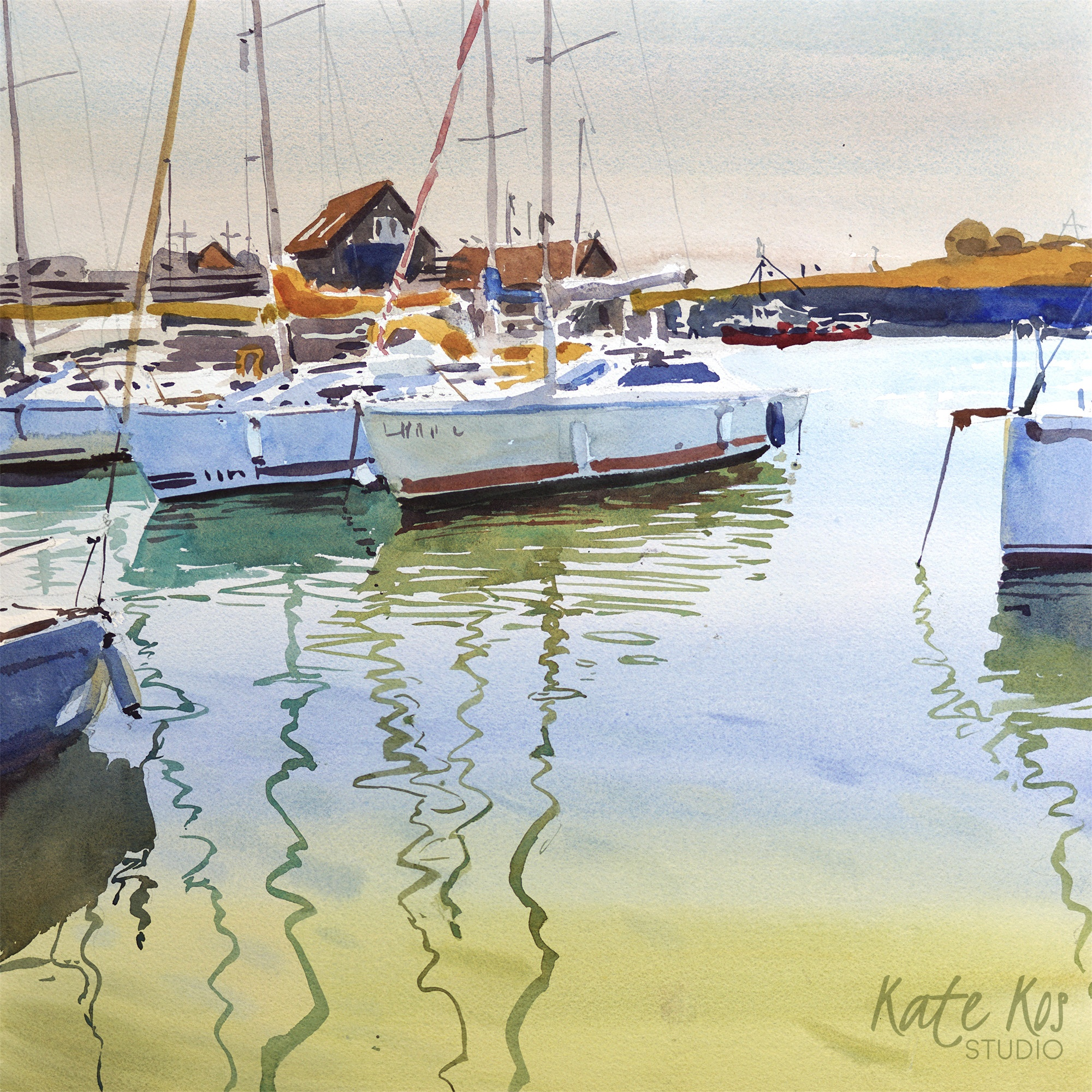 2020 art painting watercolor seascape harbour Courtown by Kate Kos - Still Water
