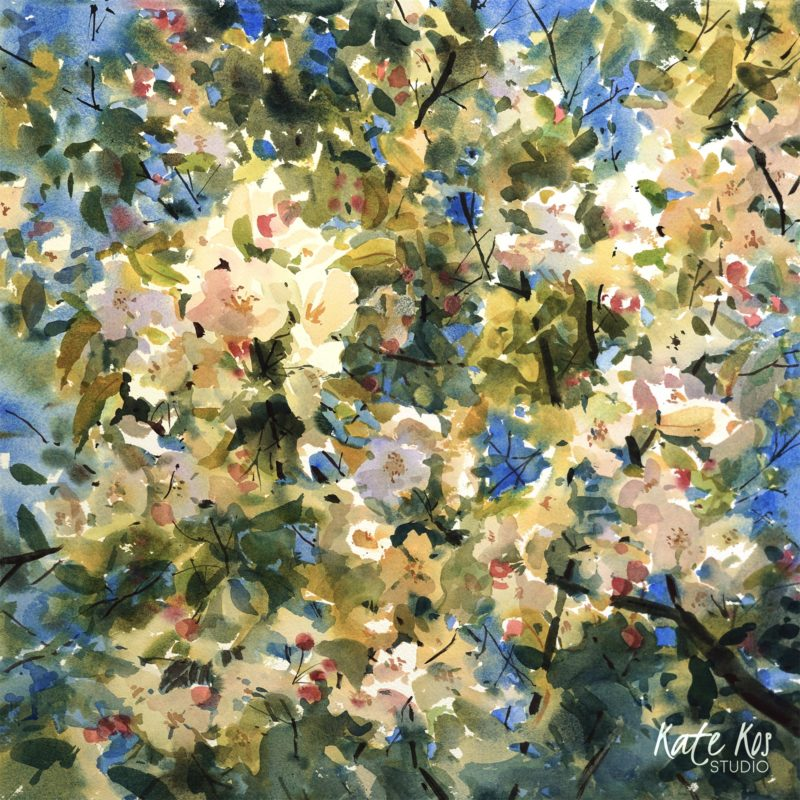 2020 art painting watercolor floral apple blossom by Kate Kos - Flowering Lace