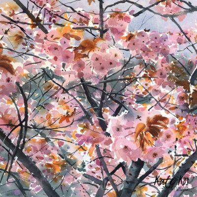 2020 art painting watercolor floral by Kate Kos - Flowering Cherry
